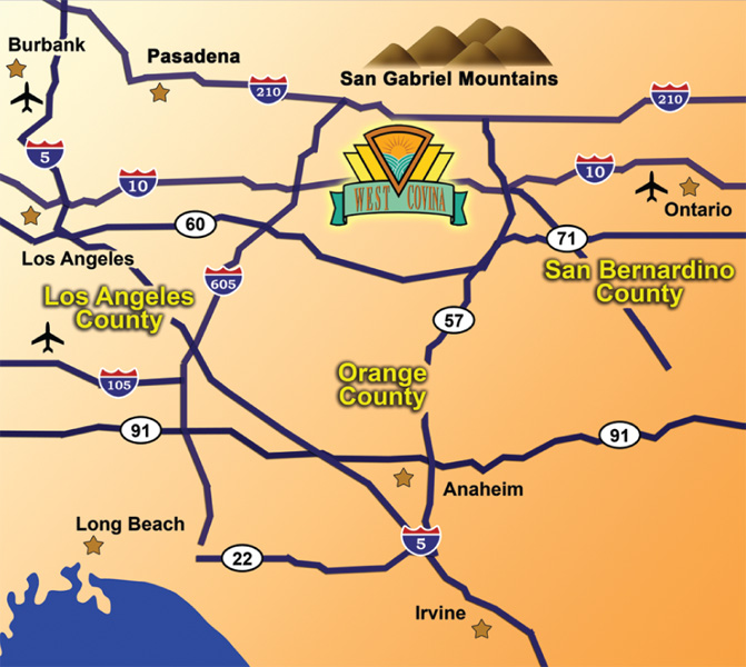 Great Location   City of West Covina on brigham city map, fontana map, mt. san antonio map, palm springs map, ventura county map, sacramento map, sonoma co map, santa clara map, downtown l.a. map, moreno valley map, south coast metro map, rancho cucamonga map, banning map, riverside map, imperial valley map, downieville map, canyon crest map, mission gorge map, desert cities map, bernardino county map,
