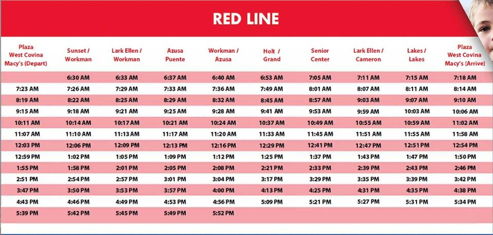 Red Line Schedule - 2017