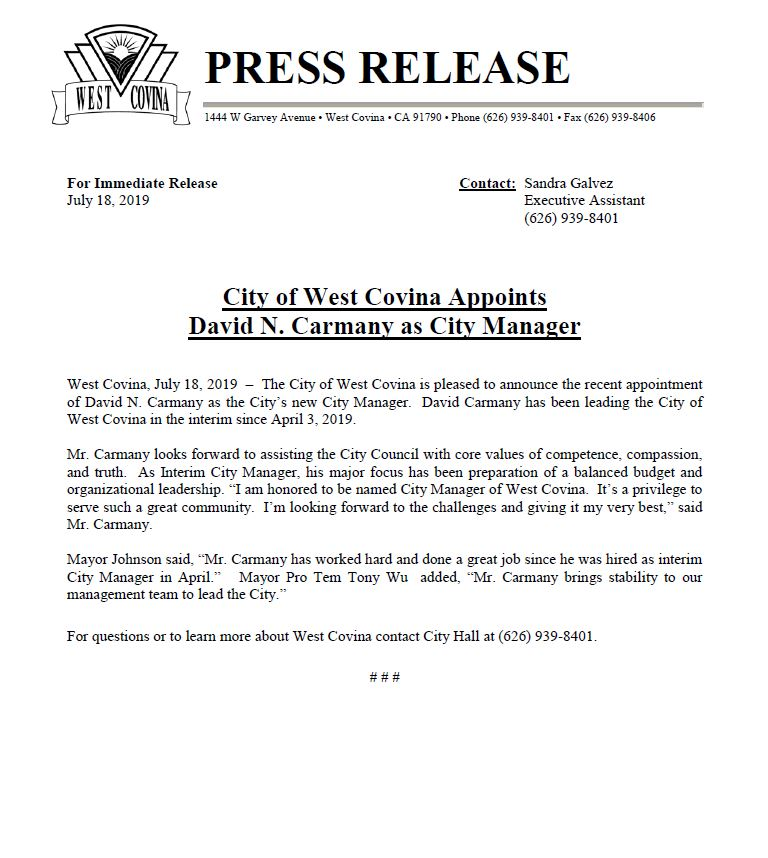 Press release - City Manager Carmany